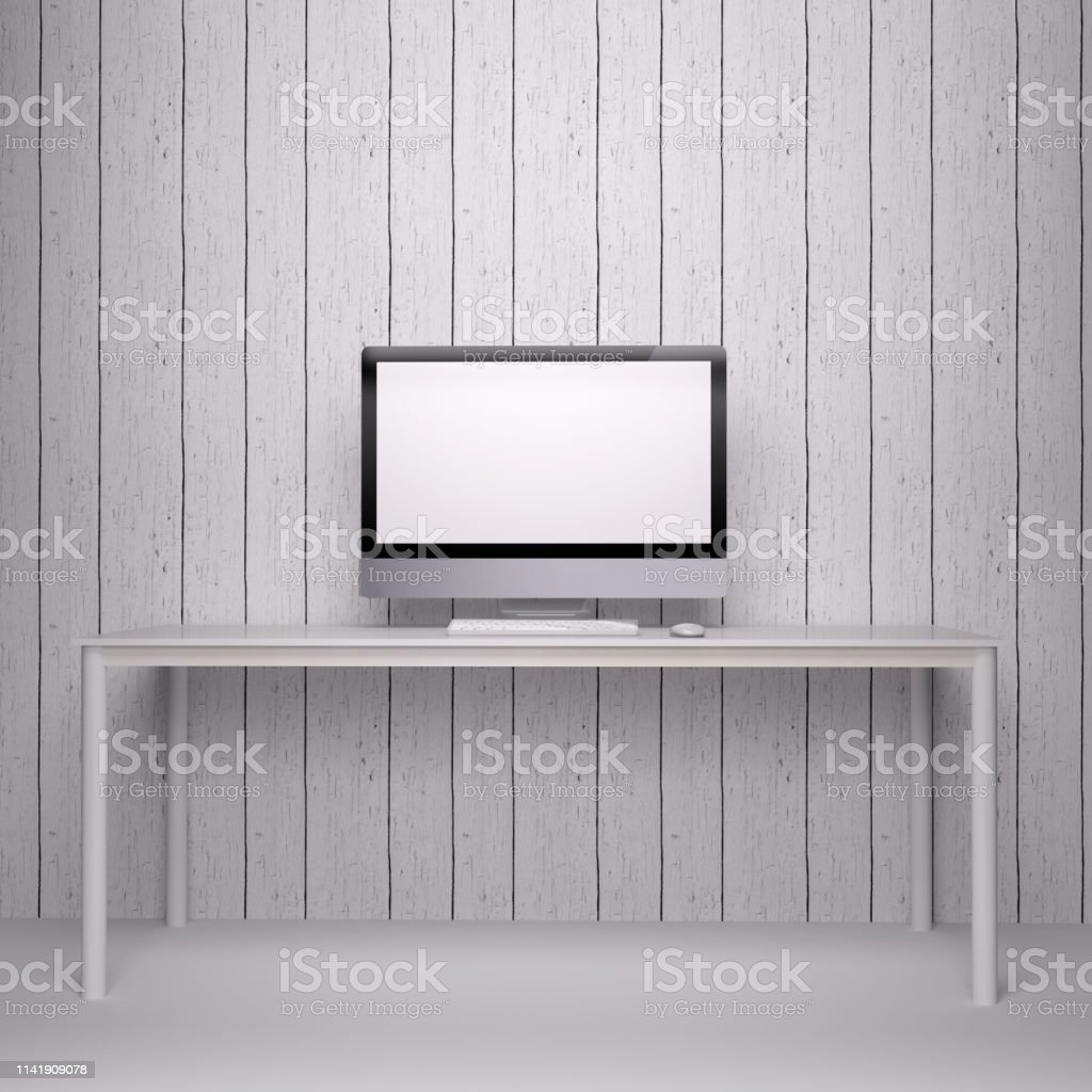 Modern Desktop Computer Screen with natural wood background elements