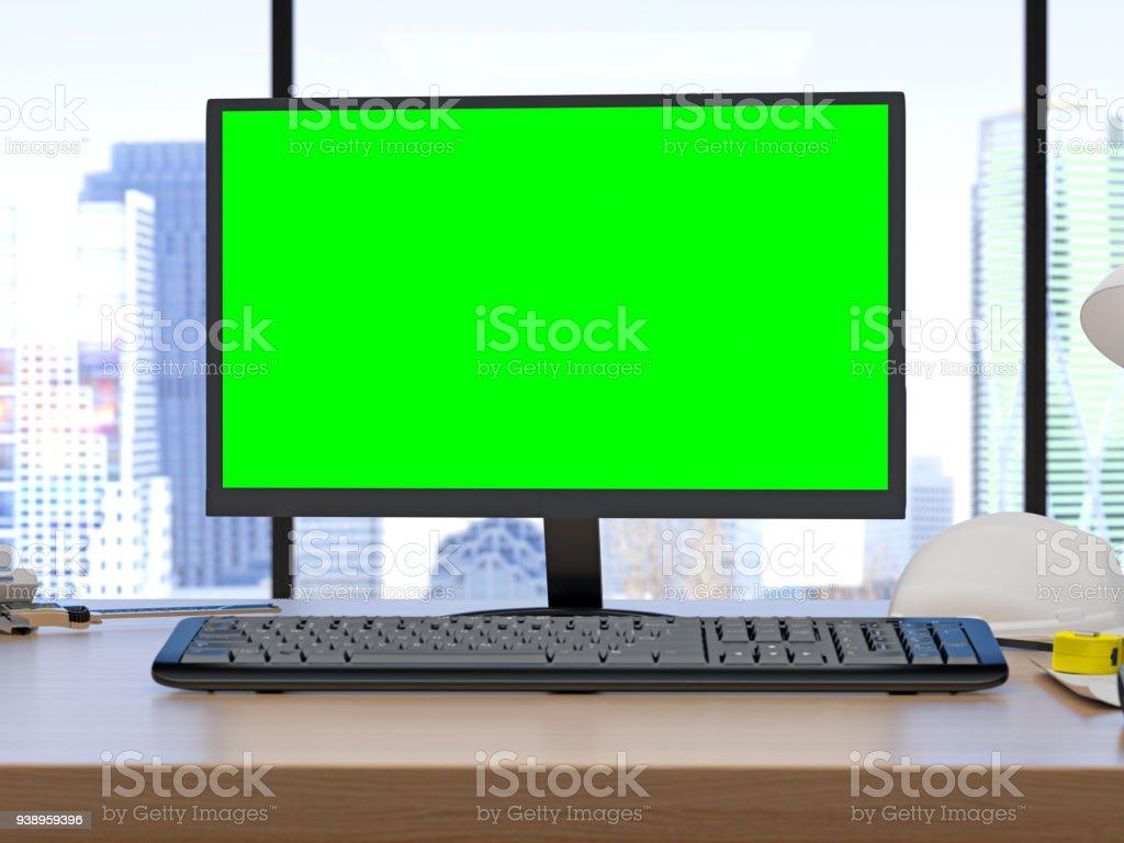 Photo de stock de ordinateur de bureau moderne avec écran vert
