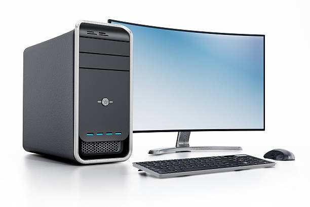 Modern desktop PC (personal computer) with curved screen stock photo