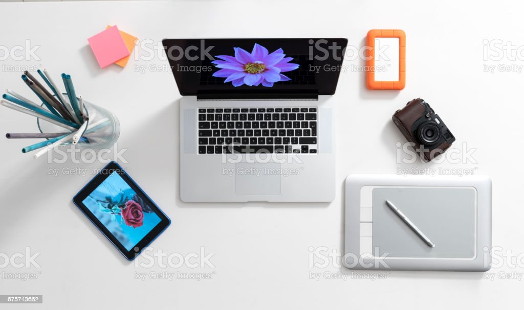Modern desktop stock photo