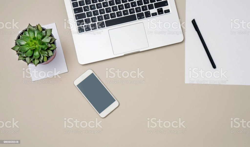 Modern Desktop With Laptop, Mobile Phone and Succulent