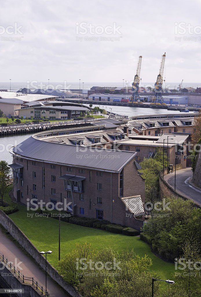 Modern Development And River stock photo