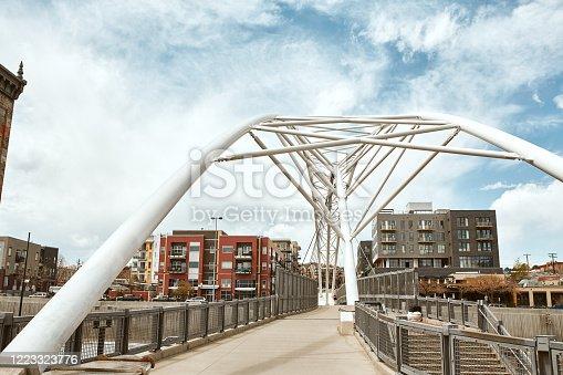 Highland Bridge, a pedestrian bridge connecting the LoHi neighborhood to Downtown Denver. Lower Highlands. Denver, Colorado