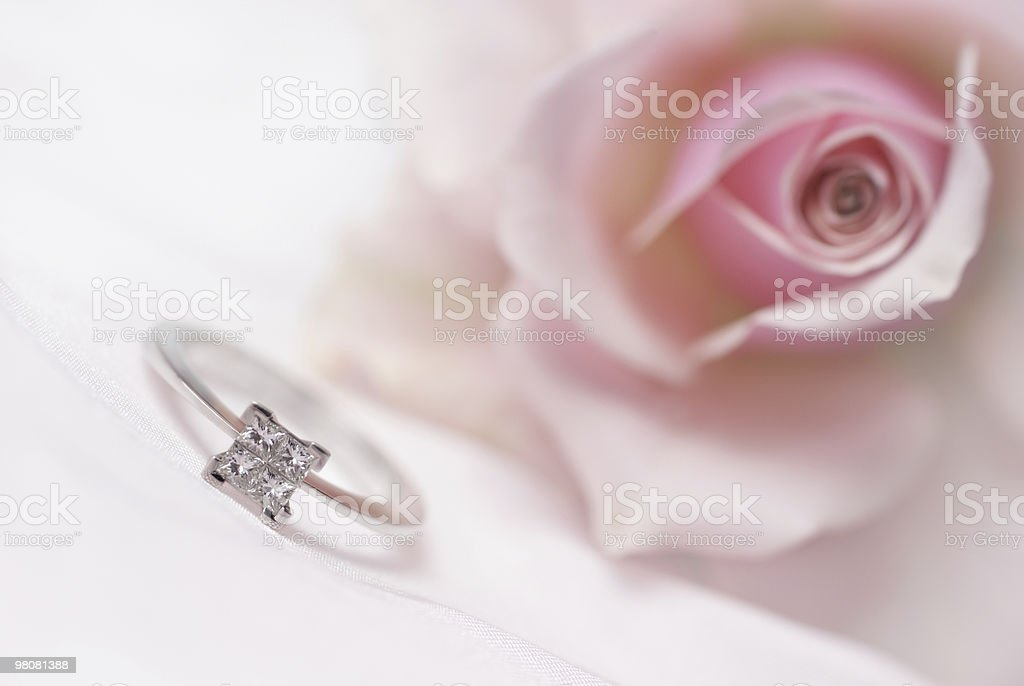Modern diamond engagement ring (shallow depth of field) royalty-free stock photo