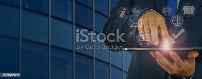istock Modern digital business management 696632698