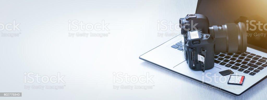 Modern digital DSLR camera. Photography concept. stock photo