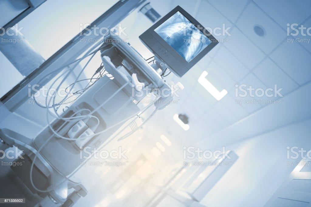 Modern digital equipment in hospital hall stock photo