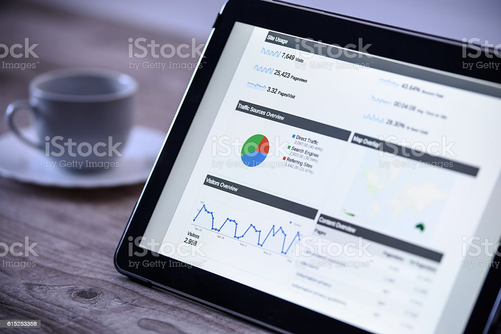 Modern digital marketing on the tablet in vintage style stock photo