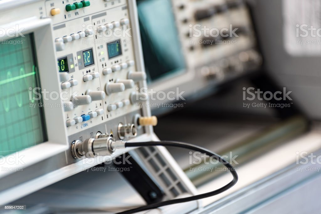 Modern digital measuring instruments. High-frequency equipment stock photo