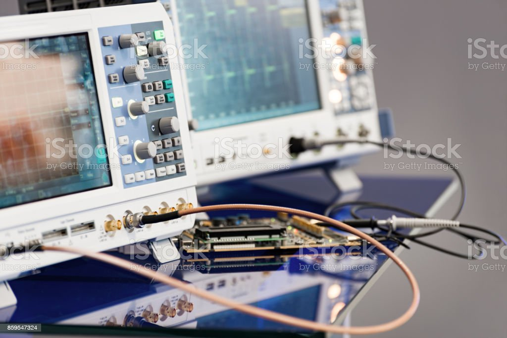 Modern digital measuring instruments. Multimetric equipment stock photo