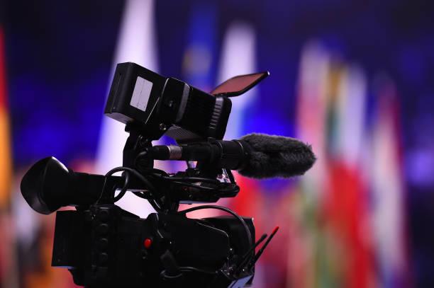 Modern digital television camera stock photo