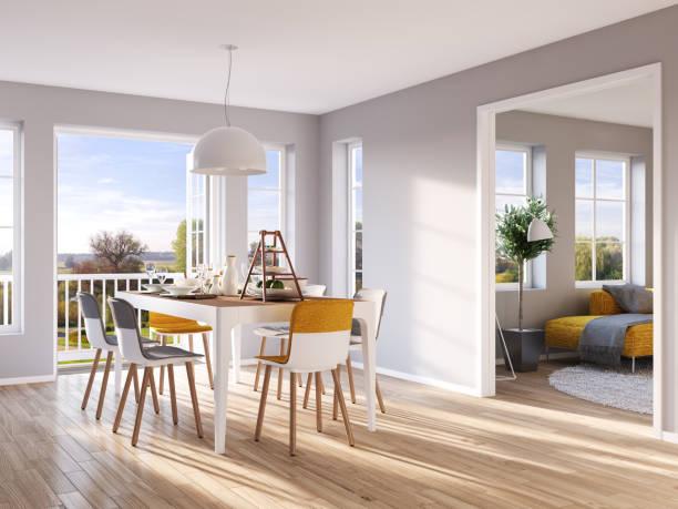 modernen ess- und wohnzimmer - outdoor esszimmer stock-fotos und bilder