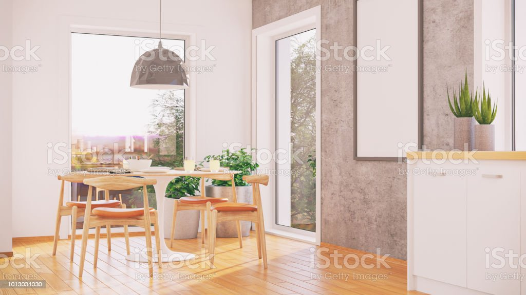 Modern Scandinavian style dining room with big windows and nice view