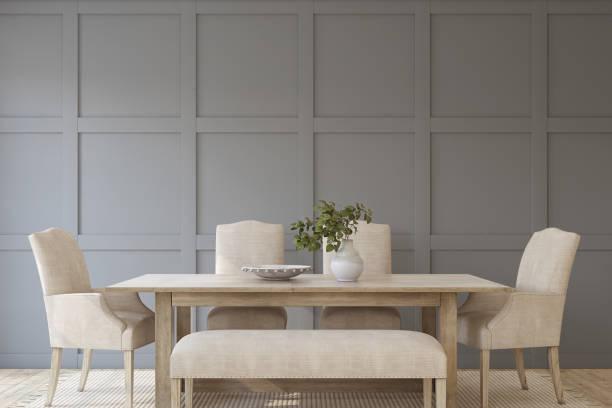 Modern dining room. 3d render. stock photo