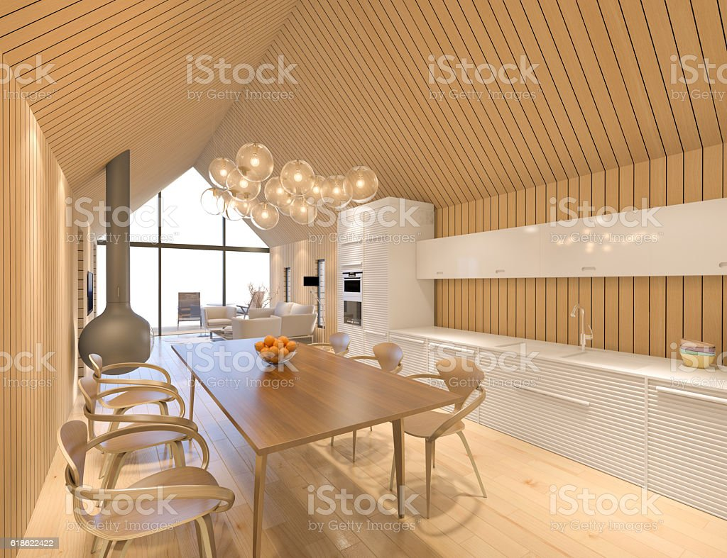 Modern dining room and kitchen stock photo