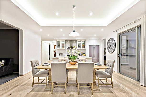 Modern dining room beside the kitchen ready to serve – Foto