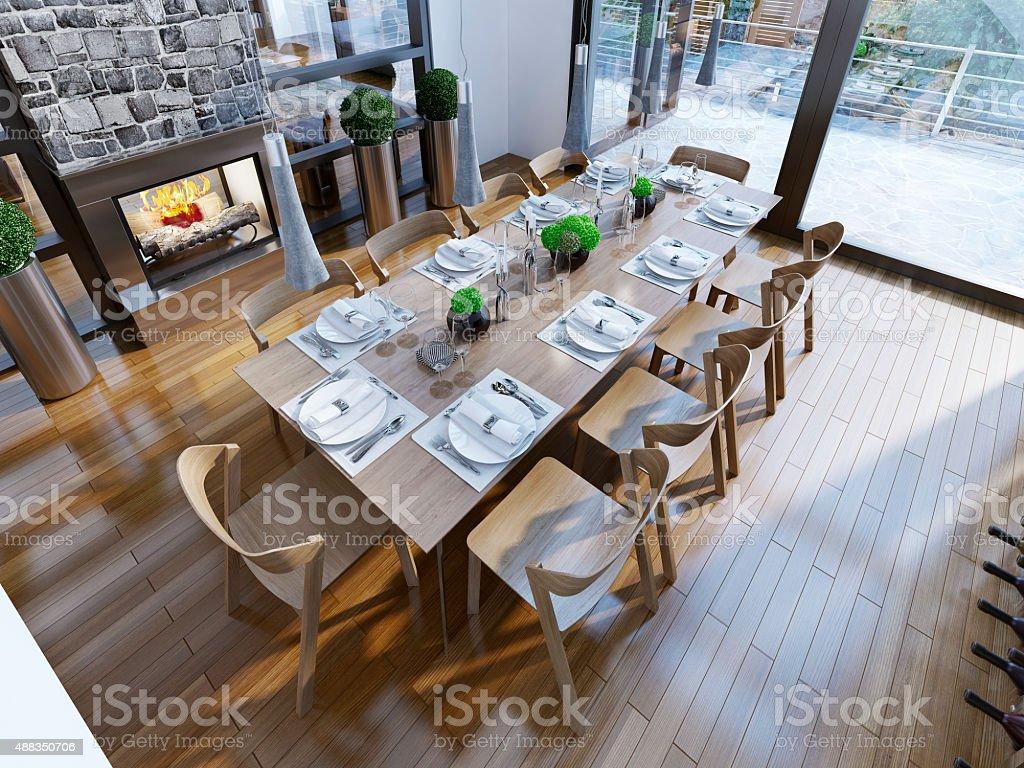 Modern dining room in luxury house. 3D render