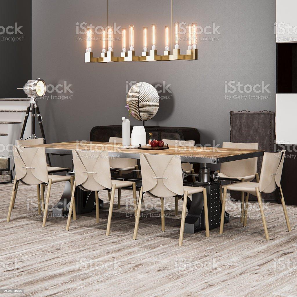 Diseño Interior Moderno De Comedor Foto de stock y más banco de imágenes de  A la moda