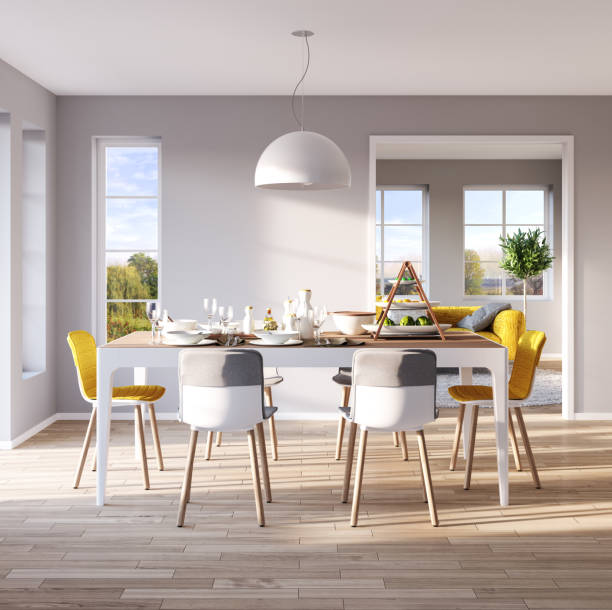 modern dining room interior - nelleg stock photos and pictures