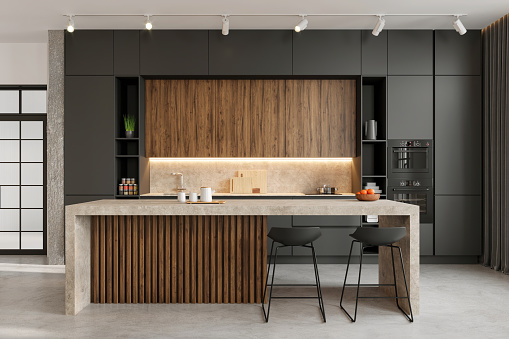 Large modern open space loft kitchen interior with large kitchen island and bar chairs. Copy space render
