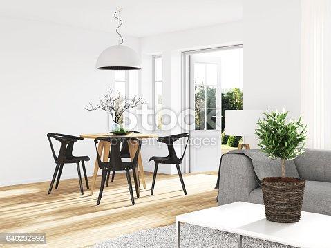 Modern dining room. Render image.