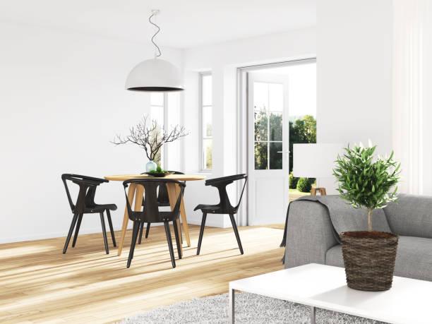 moderne esszimmer  - wohnzimmermöbel holz stock-fotos und bilder