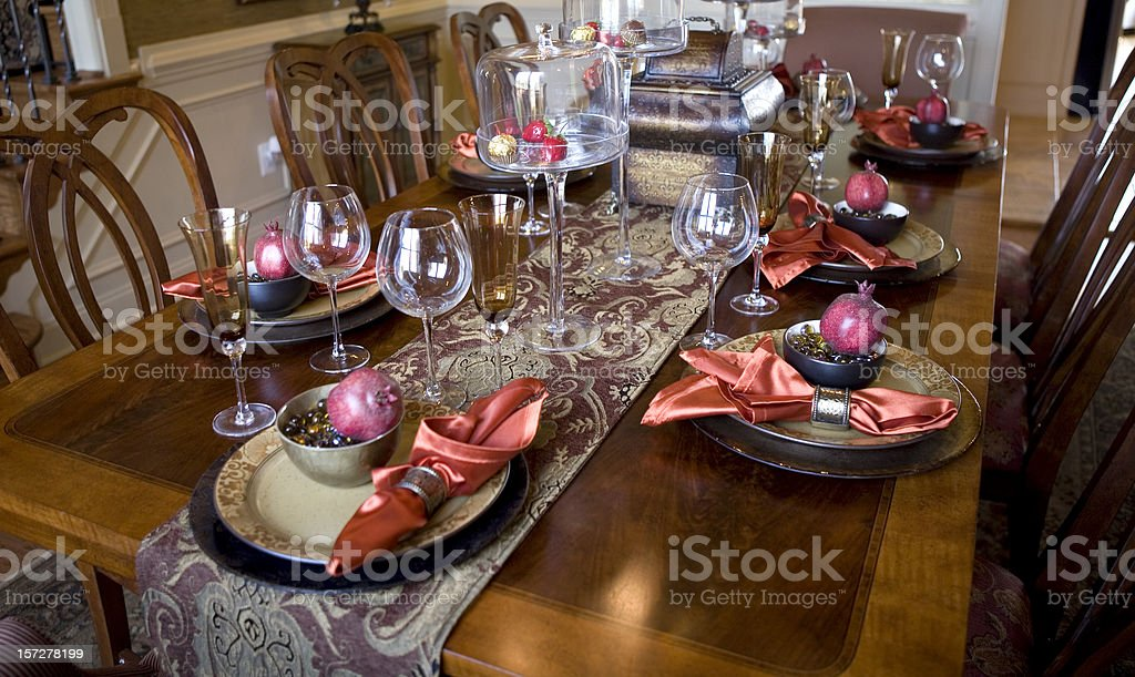 Modern Dining Room Table Dishes royalty-free stock photo