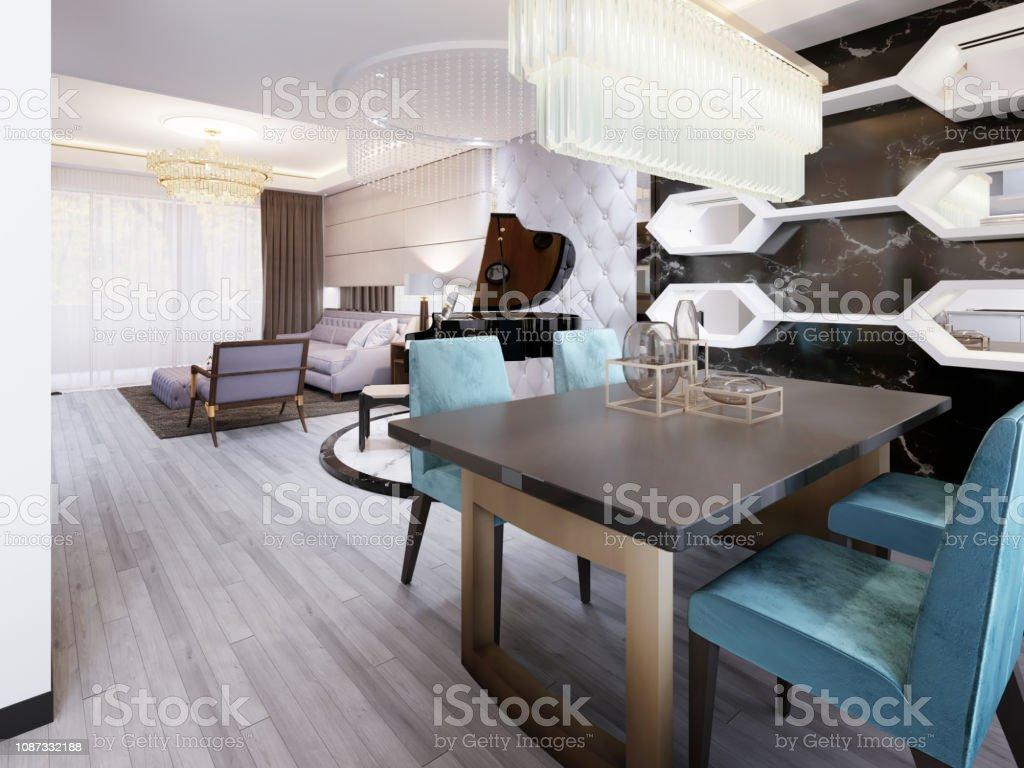 Miroir Salle De Sejour photo libre de droit de salle À manger moderne avec table À