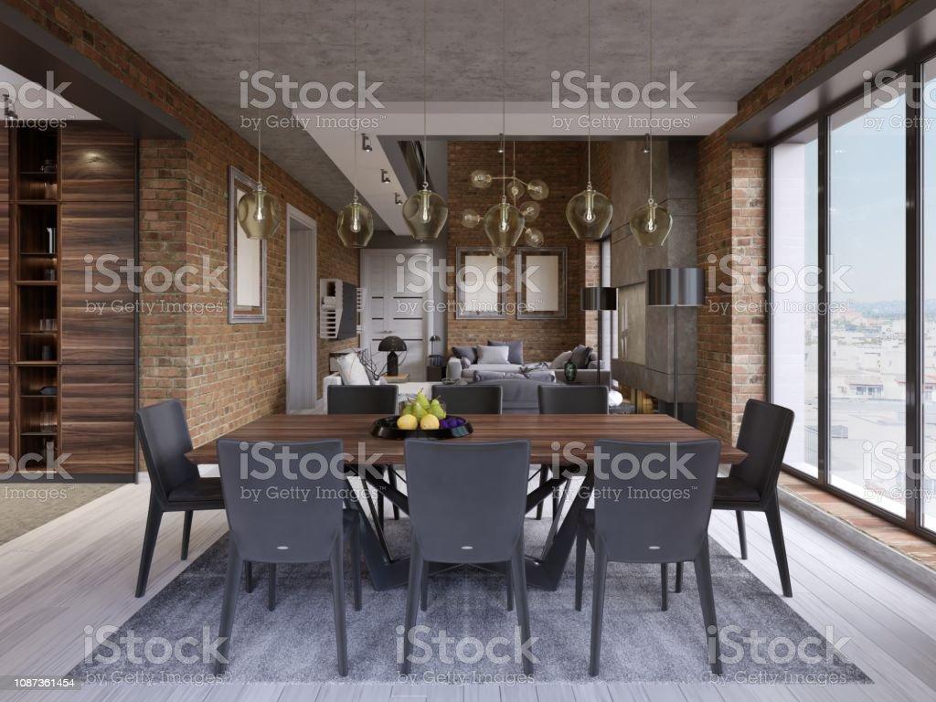 Moderne Esszimmer Mit Esstisch Und 8 Stuhle In Einem Loftstilapartment Mit Kuche Und Wohnzimmer Stockfoto Und Mehr Bilder Von Design Istock