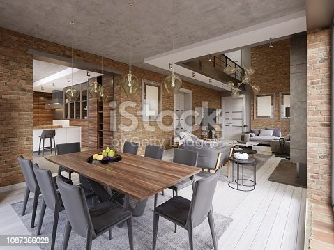 Modern dining room with dining table and eight chairs in a loft-style apartment with kitchen and living room. 3d rendering.