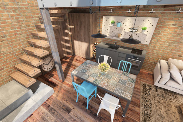 moderne esszimmer mit küche - küche rustikal gestalten stock-fotos und bilder
