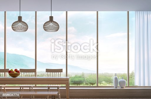 istock Modern dining room with mountain view 3d rendering 658604774