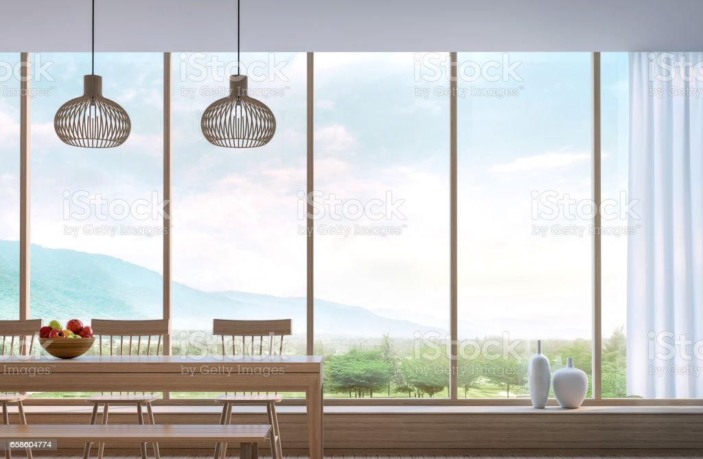 Modern dining room with mountain view 3d rendering stock photo