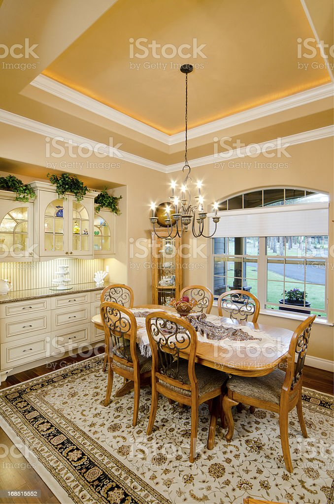 Modern dining room with rug royalty-free stock photo