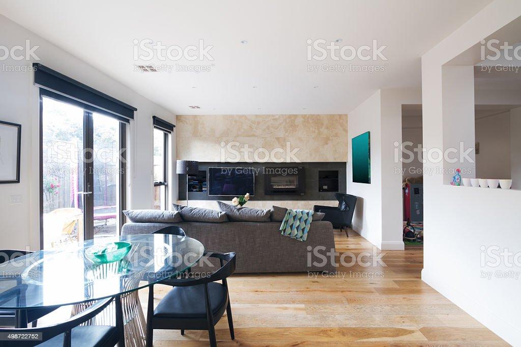 Modernen Esstisch Und Offener Wohnzimmer In Australien - Stockfoto ...