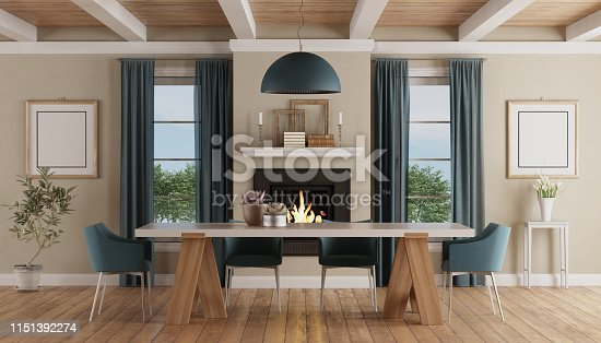 Modern dining table chairs in a classic home interior with fireplace - 3d rendering The room does not exist in reality, Property model is not necessary