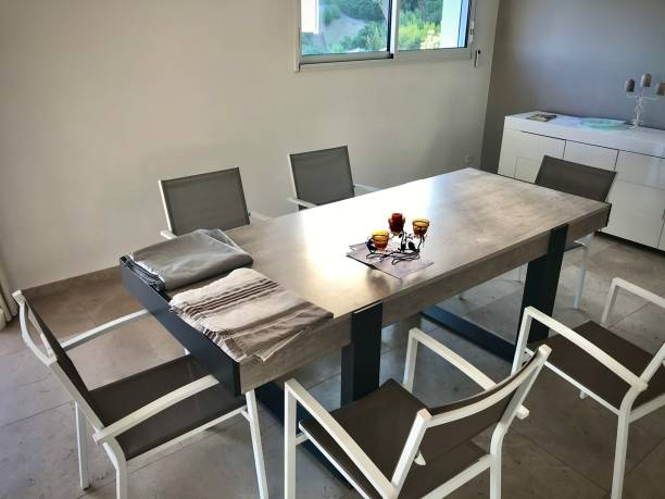 A modern dining table. stock photo