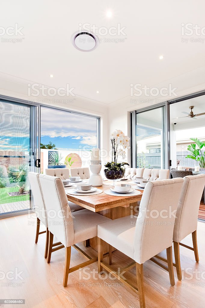Modern Dining Table Set Up With Chairs And Wooden Tables Stock Photo Download Image Now Istock