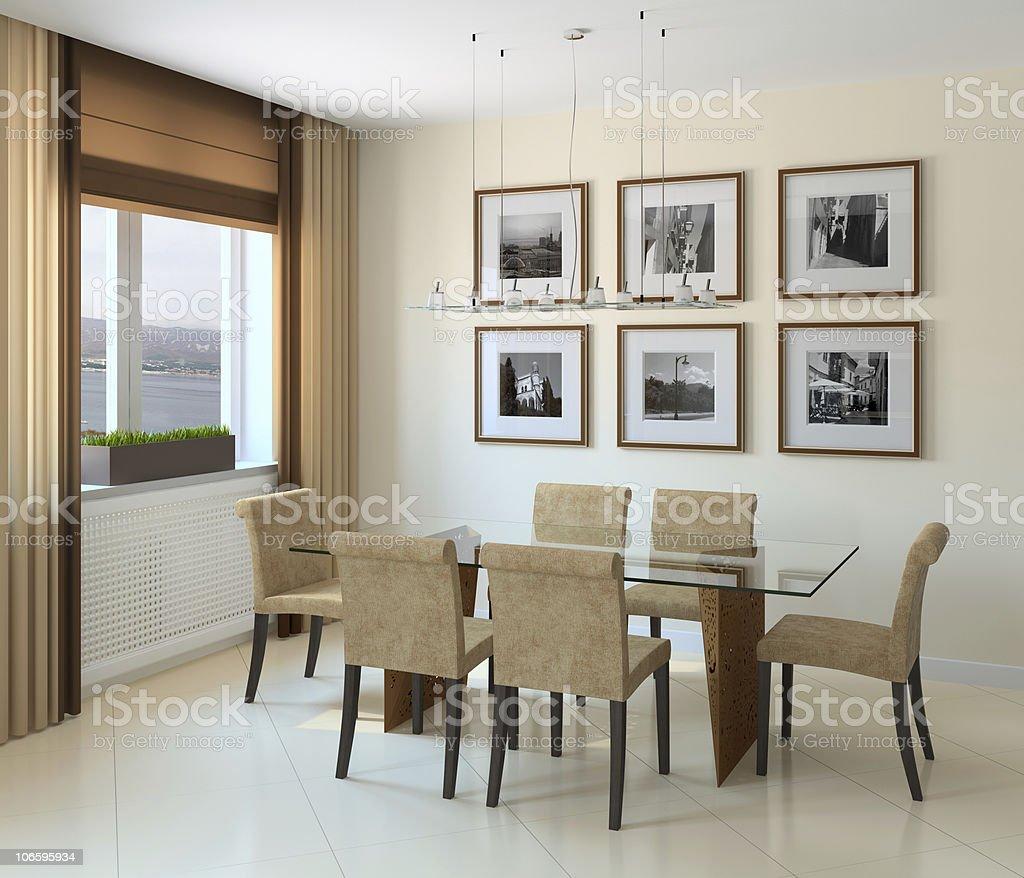 Modern dining-room stock photo