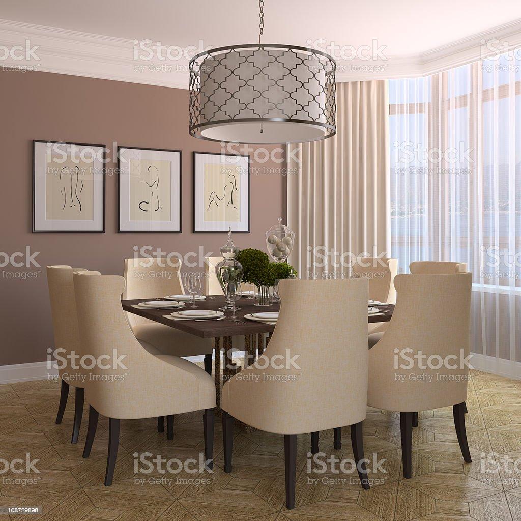 Modern dining-room. stock photo
