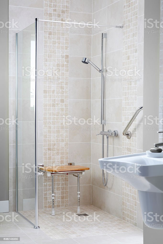 Modern Disabled Shower Cubicle Royalty Free Stock Photo