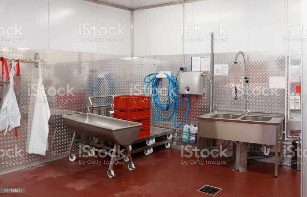Modern dishwashing room stock photo