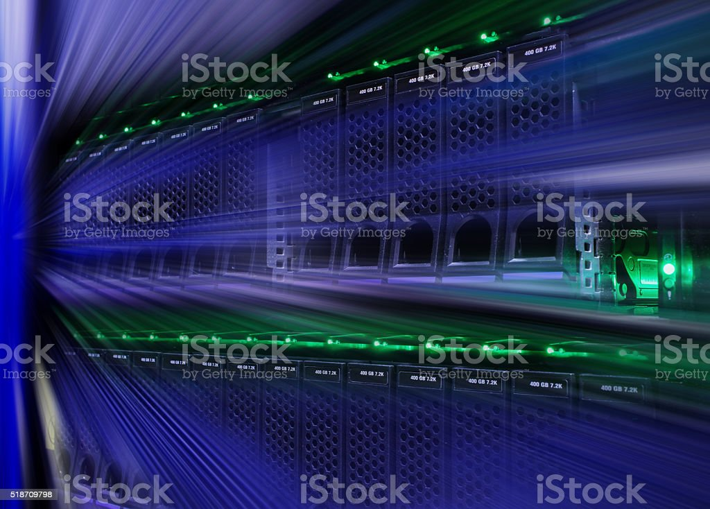 Modern disk storage supercomputer motion blur stock photo