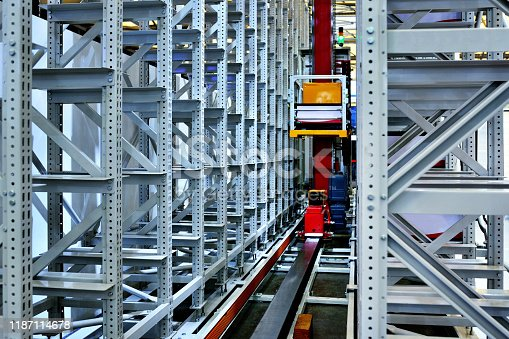 Empty shelf at modern distribution warehouse workshop.