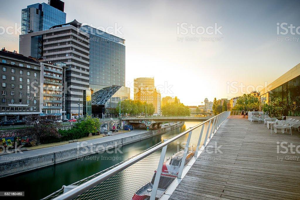 Modern district in Vienna stock photo
