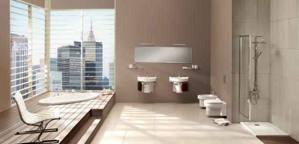 moderne privatbad - badezimmer new york style stock-fotos und bilder