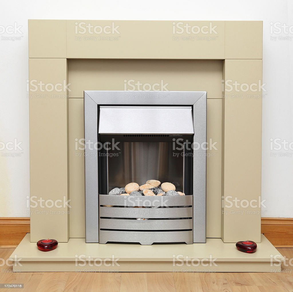 modern domestic electric fireplace and fire with surround stock photo