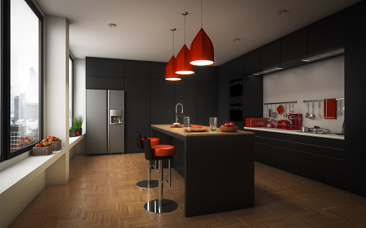 Digitally generated modern domestic kitchen and dining room with parquet floor.  The scene was rendered with photorealistic shaders and lighting in Autodesk® 3ds Max 2016 with V-Ray 3.6 with some post-production added.