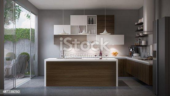 A shot of domestic minimalist kitchen. Render image.