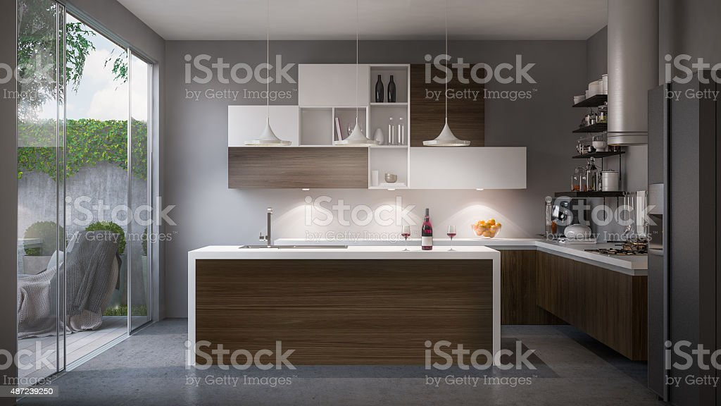 Modern domestic kitchen stock photo
